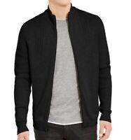 INC Mens Sweater Deep Black Size Medium M Full Zip Ribbed Stretch $90 #202