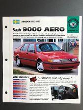 "1993 - 1997 Saab 9000 Aero Sedan IMP ""Hot Cars"" Spec Sheet Folder Brochure L@@K"