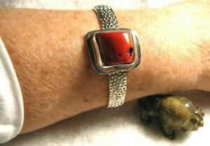 1 34 Wide Black Fossil Coral 925 Sterling Silver Cuff Bracelet