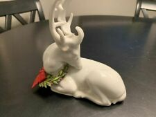 Petites Choses White Porcelain Reindeer with Holiday Wreath