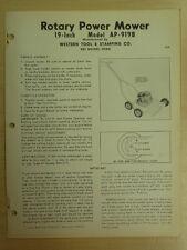 "Western Tool 19"" Rotary Power Mower Instrutions, Parts Manual Ap-919B"