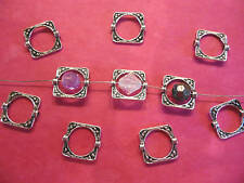Tibetan Silver Square Bead Frame 10 per pack