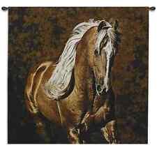 GOLDEN PALAMINO HORSE WESTERN RANCH DECOR ART TAPESTRY WALL HANGING 51x51
