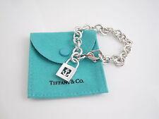 Tiffany & Co RARE Silver Anchor Padlock Charm Bracelet Bangle!