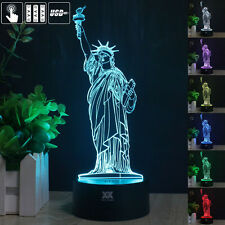 New York Statue of Liberty 3D Acrylic LED Night Light Touch Desk Lamp home Gift