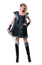 Ladies Black Silver Warrior Medieval Fancy Dress Costume Outfit Uk 12-14