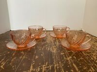 Vintage Arcoroc France Pink Swirl Glass Cups And Saucers Set of 4