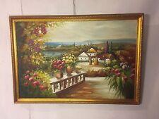 "Painting Oil On Canvas Italian Village 37""X25""unsigned.C12pix4de tails.Make Offer"