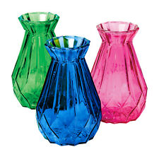 Art & Artifact 3-Piece Glass Bud Vase Set -Pink, Blue & Green Jeweltone Vases