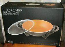 "Eco+Chef Copper Series Scratch Nonstick 13"" Electric Wok NEW"