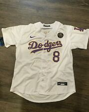 Kobe Bryant White Custom Dodgers Jersey 8 24 Nike KB Patch Size 2XL