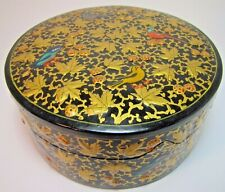 Hand Made Decorated Lidded Trinket Box beautiful birds leaves gold blk round