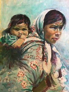 Original Work of Art of Loving Beautiful Mother and Child  Watercolor Signed by Artist Framed