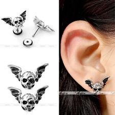 16G Gothic Bat Wing Skull Steel Helix Tragus Cartilage Ear Stud Earring Piercing