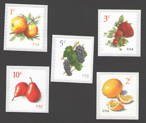 US. 5037,5039,5177,5201,5256. Apples,Lemons,Strawberries,Grapes,Pears Coins. MNH