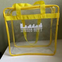 """Clear 12x12x6 Stadium Approved Tote Bag w/ 35"""" Handles Yellow Trim Music City"""
