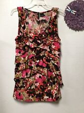 Ladies top size large brown pink sleeveless ruffled layers New Directions 158
