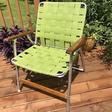 Vintage Folding Aluminium Webbed Lawn Chair Green Retro Wood Arms Telescope co.