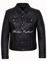 "Men's ""TRUCKER"" Black Rub off CowHide Casual Denim Style LEATHER Jacket 1280"