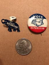 Lot of 2 Campaign Political Buttons stating Vote Republican circa 1960s