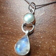 Moonstone & Freshwater Pearl Necklace 925 Sterling Silver Teardrop Cabochon New
