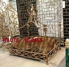 NEW DESIGNER IRON TWISTED ROPE TASSEL JEWEL CROWN CANOPY PET DOG CAT BED