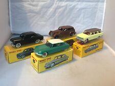 Atlas Dinky un groupe de 4 24B Peugeot, 24CP Citroen, 39 A Packard & 548 Fiat 1800