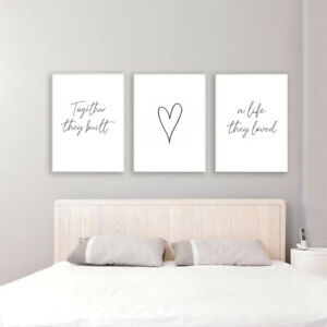 SET OF 3 A4 BEDROOM PRINTS. Wall Art Poster Picture Prints Together Love Romance