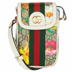 62400 auth GUCCI white leather & FLORAL GG SUPREME OPHEDIA MINI PHONE Bag