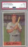 1954 Bowman baseball card #15 Richie Ashburn, Philadelphia Phillies graded PSA 4