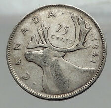 1941 CANADA King George VI of Britain Domains Silver 25 Cent Coin CARIBOU i63006