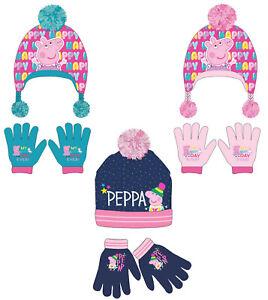 Girls Peppa Pig Winter Hat & Gloves Set