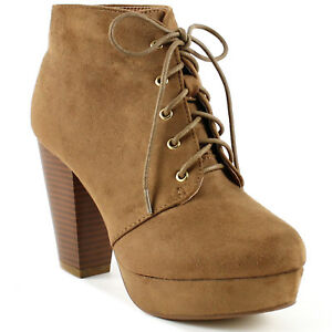 NEW Women's Fashion Comfort Stacked Chunky Heel Lace Up Ankle Booties Boots