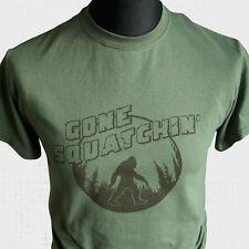 Gone Squatchin T Shirt Bigfoot Sasquatch Squatching Yeti Hunter Green