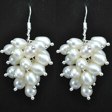 Genuine White Freshwater Pearl Cluster Sterling Silver Earrings - Gift Boxed