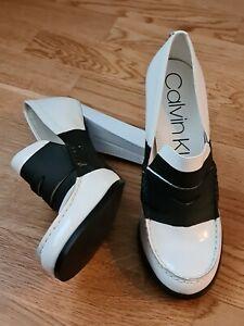 Stunning Calvin Klein Heels ~ NEW ~ Size 7 ~ White Black ~ Patent