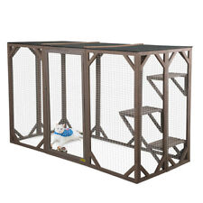 """43.5""""H Wooden Cat Run House Outdoor Enclosure Animal Catio Cage w/ 3 Platforms"""
