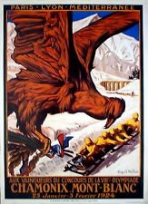 "1924 PARIS, WINTER OLYMPIC POSTER,  reprint, 13"" x 18"" Chamonix Mont Blanc"