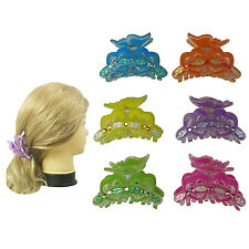 """6 PCS 3.25""""  Hair Jaws Comb Claw Clip Women Girl Butterfly Heart Assorted Colors"""