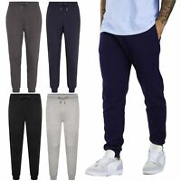 Mens Slim Fit Joggers Jogging Bottom Elasticated Fleece Gym Pants Zip Pockets