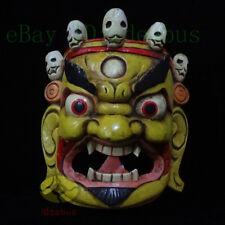 Wood Hand Carved Painted Tibetan Buddhism NUO MASK Walldecor- Mahakala 12.5'Tall