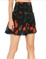 Ganni 1635 Newman Georgette Black Floral Mini Skirt Size 40 Aus 12 W32-36 Inch