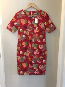Cath Kidston Ladies Red Autumn Leaf Print Shift Dress,UK 6,New With Tags Rrp £75