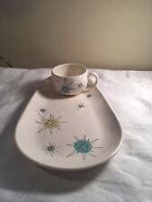 Rare Franciscan Atomic Starburst Snack Set Plate Cup Mid Century