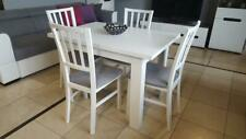 Set of white extending table and 4 wooden chairs, great size ! WMarP