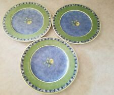 "Lot of 3~ Royal Doulton Carmina  8 7/8"" Salad Plates Blue Yellow Lemons"