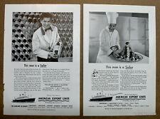 2 x American Export Lines Cruise Travel 1954  Magazine Print Ads   7 x 10