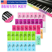 Removable Keyboard Piano Sticker Full Set for 51/61/88 Key Transparent Colorful