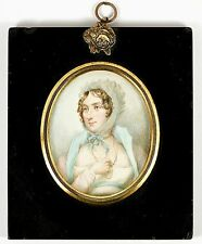 Antique HP Georgian Portrait Miniature, Long Gold Chain - Jewelry & Costume