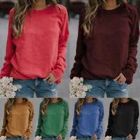 Womens Ladies Plain Sweatshirt Soft Crew Neck Fleece Pullover Jumper Tops New